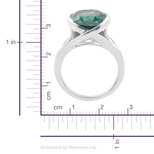 Peacock Quartz (Ovl) Solitaire Ring in Platinum Overlay Sterling Silver 9.000 Ct.