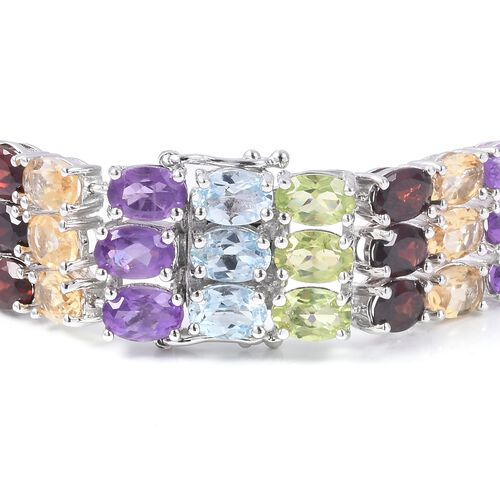 Mozambique Garnet (Ovl), Sky Blue Topaz, Hebei Peridot, Amethyst and Citrine Bracelet (Size 7.75) in Platinum Overlay Sterling Silver 46.000 Ct.