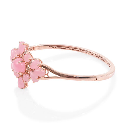 Pink Jade (Ovl 6.50 Ct) Bangle (Size 7.5) in Rose Gold Overlay Sterling Silver 19.000 Ct. Silver Wt 18.25 Gms