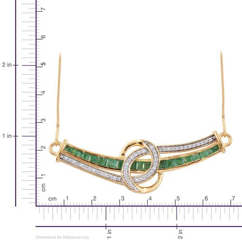 Kagem Zambian Emerald (Princess Cut), Natural Cambodian Zircon Necklace With Chain (Size 16) in 14K Gold Overlay Sterling Silver 2.250 Ct.