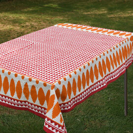 100% Cotton Orange, Red and White Colour Hand Block Printed Table Cover (Size 235x150 Cm)