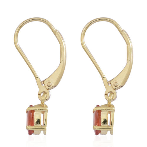 Orange Sapphire (Ovl) Lever Back Earrings in 14K Gold Overlay Sterling Silver 1.250 Ct.