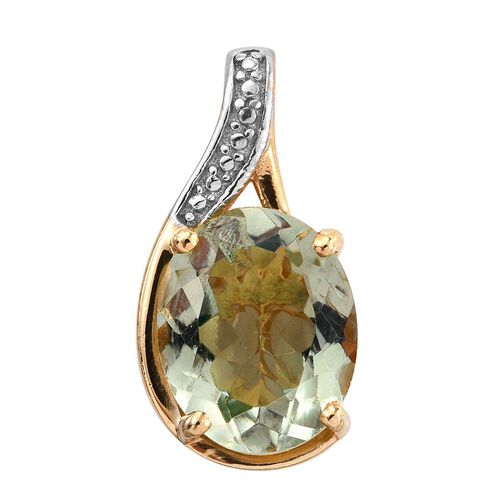 Green Amethyst (Ovl) Solitaire Pendant in 14K Gold Overlay Sterling Silver 3.250 Ct.