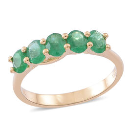 Collectors Edition - ILIANA 18K Yellow Gold AAA Kagem Zambian Emerald (Ovl) 5 Stone Ring 1.500 Ct.
