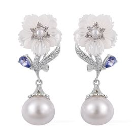 Jardin Collection- South Sea White Pearl (Rnd 11-12mm), Tanzanite, Fresh Water Pearl and Natural Cambodian Zircon Earrings (with French Clip) in Rhodium Plated Sterling Silver 27.645 Ct.