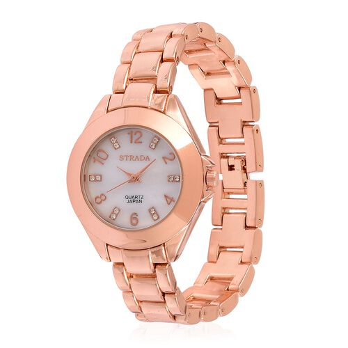STRADA Japanese Movement White Austrian Crystal Studded MOP Dial Watch in Rose Gold Tone with Stainless Steel Back