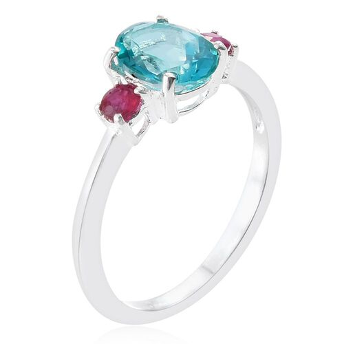 Signity Paraiba Topaz (Ovl 1.50 Ct), African Ruby Ring in Sterling Silver 1.750 Ct.