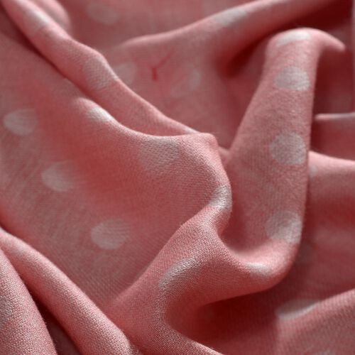 Polka Dot Pattern Peach Colour Scarf With Tassels (Size 180x70 Cm)