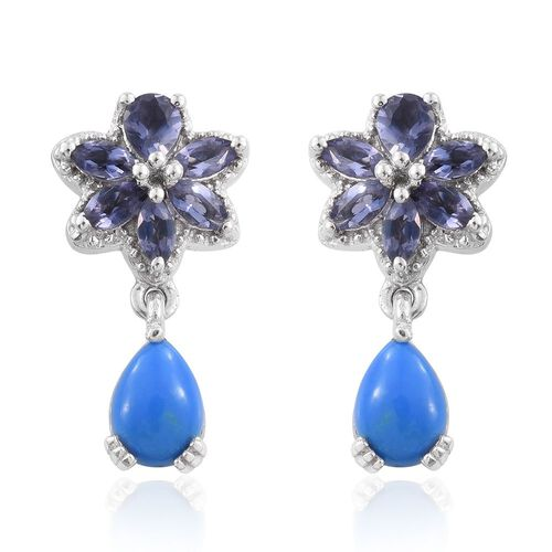 Ceruleite (Pear), Iolite Earrings (with Push Back) in Platinum Overlay Sterling Silver 1.680 Ct.