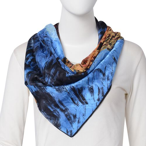 100% Mulberry Silk Yellow, Blue and Multi Colour Wheat Field with Crows Printed Scarf (Size 86x86 Cm) (Weight 35 Gms)