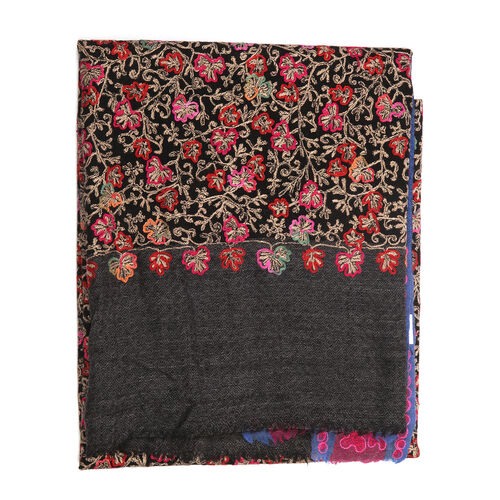 100% Merino Wool Flowers Embroidered Pink, Black and Multi Colour Scarf (Size 200x70 Cm)