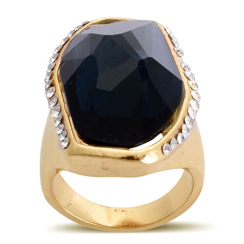 Simulated Blue Sapphire and White Austrian Crystal Ring in Gold Tone