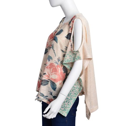 Red Colour Rose Pattern Off White Colour Poncho with Tassels on Neck (Size 85X60 Cm)