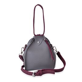Grey and Burgundy Colour Tote Bag with Adjustable and Removable Shoulder Strap (Size 17x14x14 Cm)