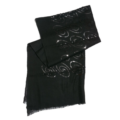Limited Edition 100% Spanish Merino Wool Black Colour Scarf with Sequin (Size 180x70 Cm)