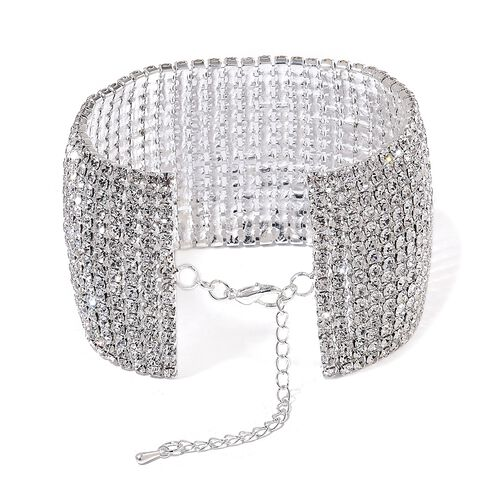 AAA White Austrian Crystal Bracelet (Size 7.5 with 2 inch Extender) in Silver Tone