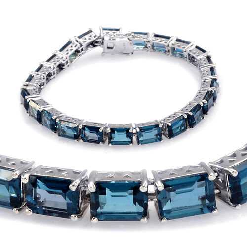 London Blue Topaz (Oct) Bracelet in Rhodium Plated Sterling Silver (Size 7.5) 29.000 Ct.