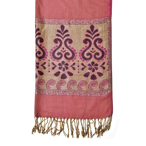 Fuchsia and Plum Colour Floral and Paisley Motif Scarf with Tassels (Size 170X70 Cm)