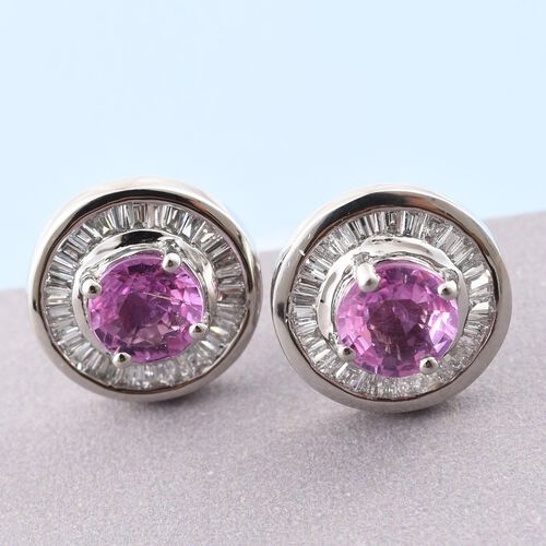 RHAPSODY 950 Platinum AAAA Pink Sapphire (Rnd), Diamond (VS/E-F) Stud Earrings (with Screw Back) 1.660 Ct. 5.4 Grams of Platinum