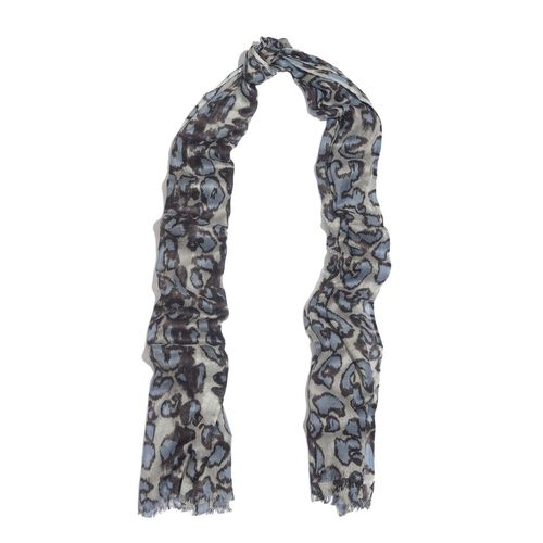 NEW FOR SEASON - Hand Screen Printed Blue and Grey Colour Leopard Printed Scarf (Size 180x55 Cm)