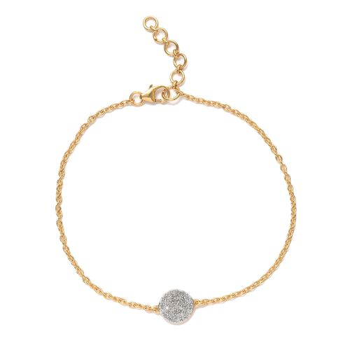 Diamond 0.25 Ct Silver Pave Disc Bracelet (Size 7.5 with Half inch Extender) in Gold Overlay