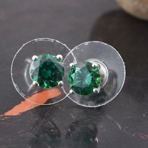 J Francis - Sterling Silver (Rnd) Stud Earrings (with Push Back) Made with Green SWAROVSKI ZIRCONIA