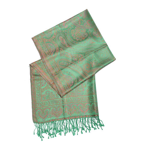 SILK MARK - 100% Superfine Silk Green and Pink Colour Paisley Pattern Jacquard Jamawar Scarf with Tassels (Size 180x70 Cm) (Weight 125 - 140 Gms)