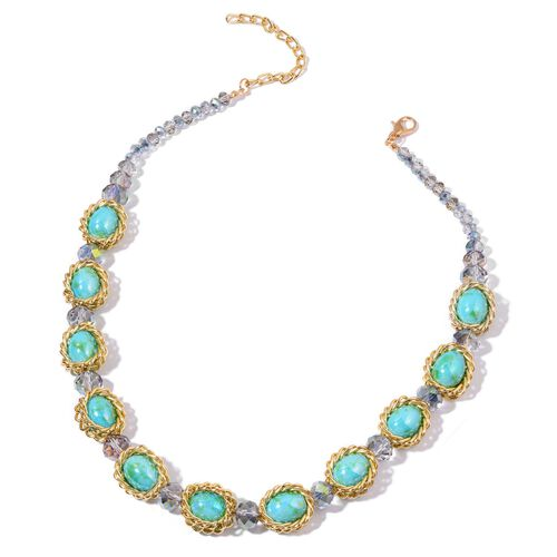 Simulated Jade and Simulated Multi Colour Diamond Necklace (Size 20 with 2 inch Extender) and Stretchable Bracelet (Size 7.50) in Yellow Gold Tone