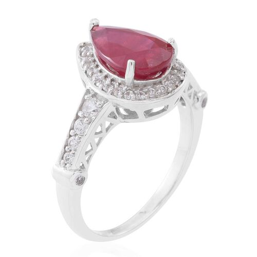 AAA African Ruby (Pear 4.25 Ct), Natural Cambodian White Zircon Ring in Rhodium Plated Sterling Silver 5.150 Ct.