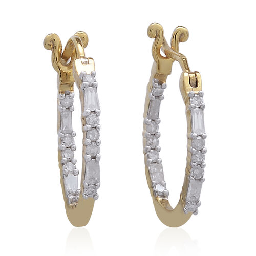 Diamond (Rnd and Bgt) Hoop Earrings (with Clasp Lock) in 14K Gold Overlay Sterling Silver 0.500 Ct.