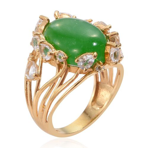 Green Jade (Ovl 9.85 Ct), White Topaz Ring in 14K Gold Overlay Sterling Silver 12.000 Ct.