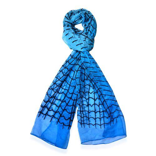 100% Silk Black Colour Velvet Twill and Potion Pattern Blue Colour Scarf (Size 170X50 Cm)