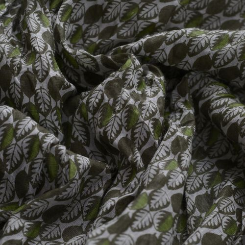 Green Colour Leaves Printed Scarf (Size 180x100 Cm)