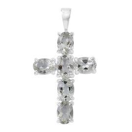 Green Amethyst (Ovl) Cross Pendant in Sterling Silver 4.250 Ct.