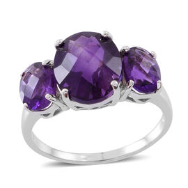 Amethyst (Ovl 4.00 Ct) 3 Stone Ring in Rhodium Plated Sterling Silver 6.250 Ct.