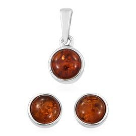 Baltic Amber (Rnd) Solitaire Pendant and Stud Earrings (with Push Back) in Platinum Overlay Sterling Silver