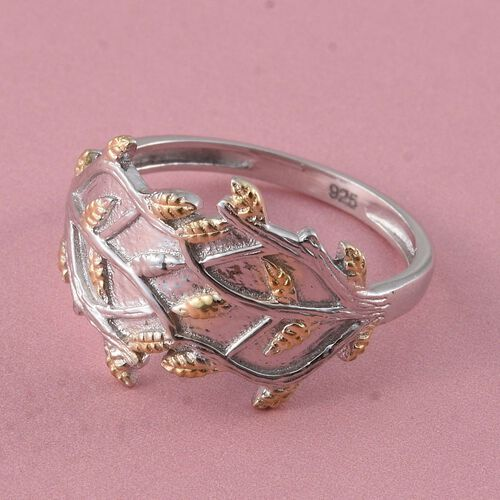 Yellow Gold Overlay Sterling Silver Leaves Ring