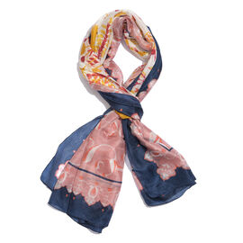 100% Mulberry Silk Blue, Off White and Multi Colour Floral and Leaves Hand Screen Printed Scarf (Size 180X100 Cm)