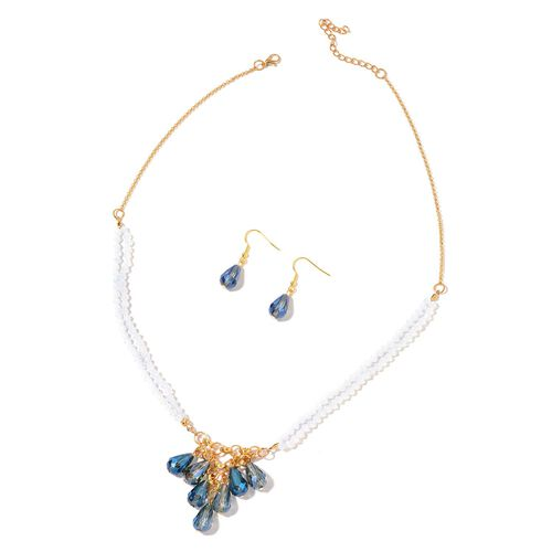 Simulated Sapphire and White Colour Beads Necklace (Size 20 with 3 inch Extender) and Hook Earrings in Yellow Gold Tone