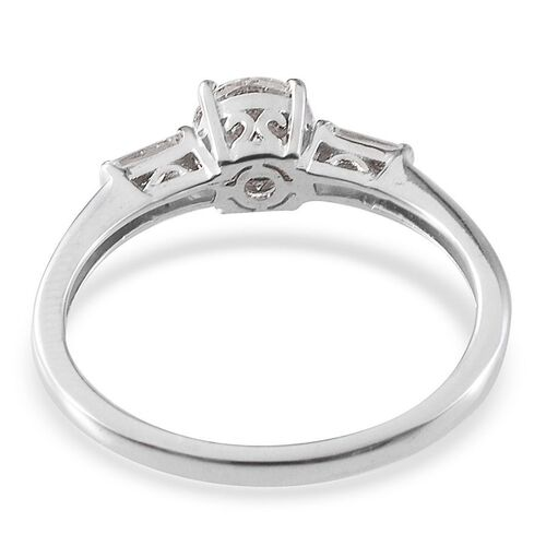 J Francis - Platinum Overlay Sterling Silver (Rnd) Ring Made with SWAROVSKI ZIRCONIA 1.020 Ct.