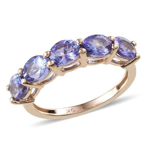 9K Y Gold Tanzanite (Ovl) 5 Stone Ring 1.750 Ct.