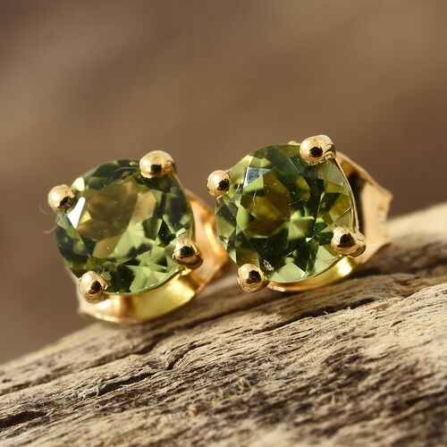 Hebei Peridot Stud Earrings (with Push Back) in Gold Plated Silver 1 Carat