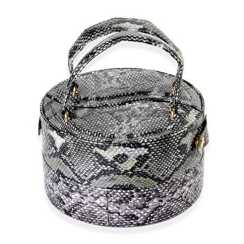Round Shape Snakeskin Pattern Black Colour 3 Layer Jewellery Box (Height 8.5 Cm, Diameter 15 Cm)