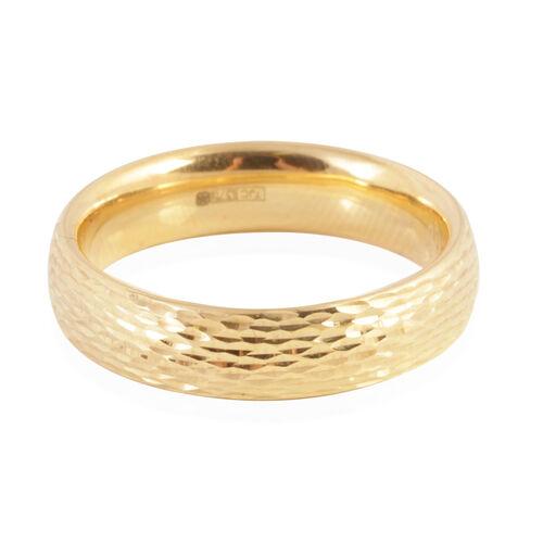 Italian Made - Designer Inspired -  Diamond Cut 9K Y Gold Band Ring. Gold wt 1.3 Grams