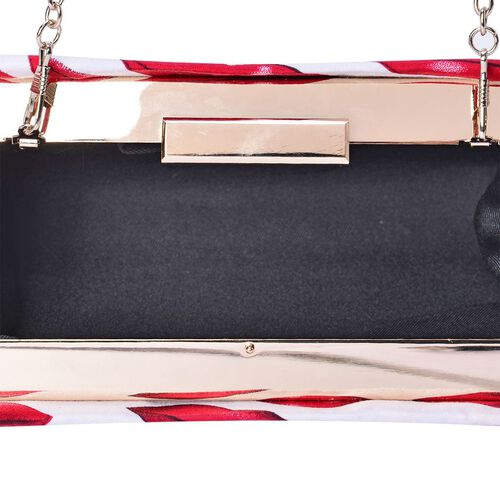 Designer Inspired Red Colour Lips Pattern White Colour Clutch Bag with Removable Chain Strap (Size 20x14x4 Cm)