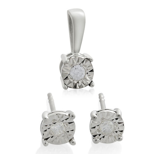 Diamond SGL Certified (I3/G-H) Solitaire Pendant and Stud Earrings Set in 9K White Gold