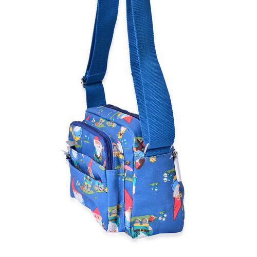 Blue Crossbody Bag with External Zipper Pocket and Adjustable Shoulder Strap (Size 22x17x7 Cm)