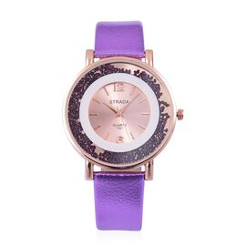 STRADA Japanese Movement Sunshine Dial with Purple Austrian Crystal Watch in Rose Gold Tone with Purple Colour Strap