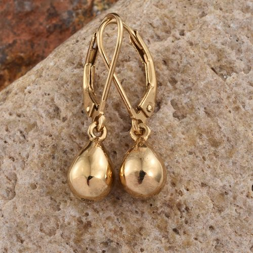 Teardrop Silver Hook Earrings in Gold Overlay, Silver wt. 4.25 Gms