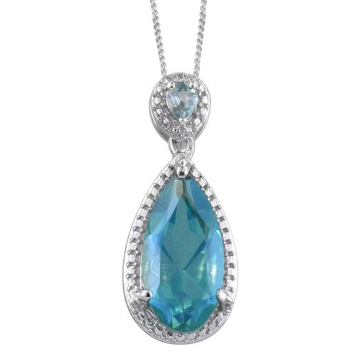 Peacock Quartz (Pear 4.75 Ct), Blue Zircon Pendant With Chain in Platinum Overlay Sterling Silver 5.000 Ct.